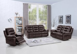 "132"" Comfortable Brown Faux Leather Sofa Set with a Console Loveseat"
