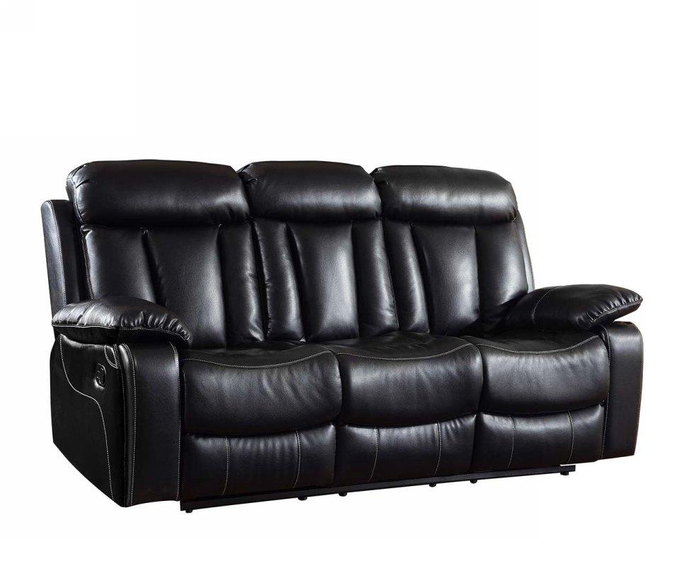 "42"" Sturdy Black Leather Sofa"