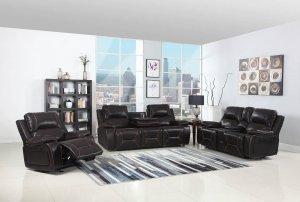 "124"" Classy Brown Leather Sofa Set"
