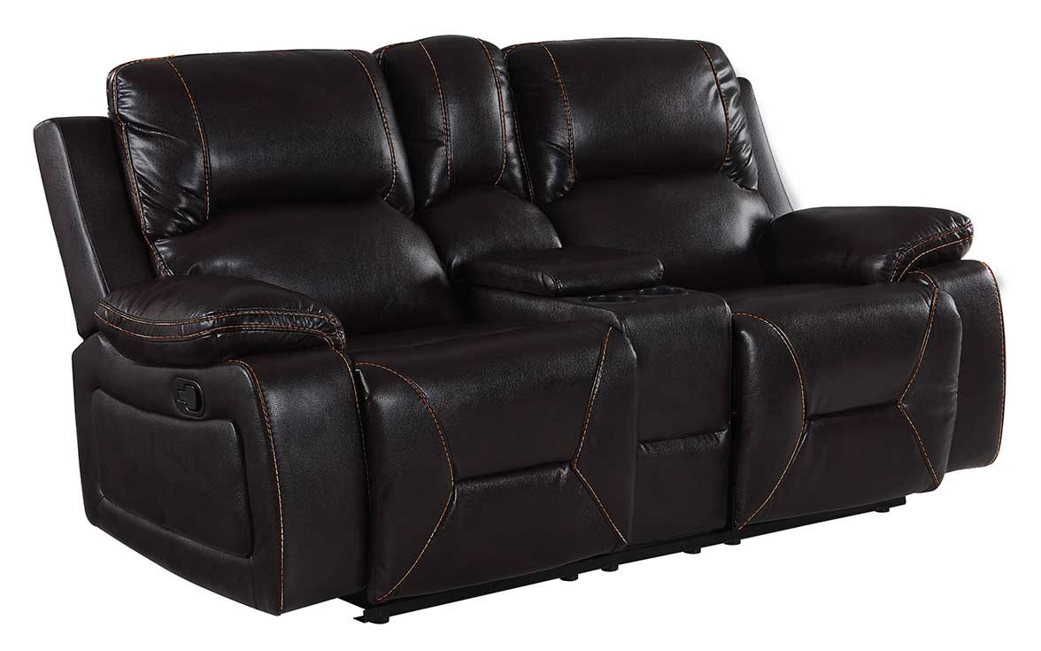 """40"""" Classy Brown Leather Loveseat"""