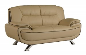 "40"" Sleek Beige Leather Loveseat"