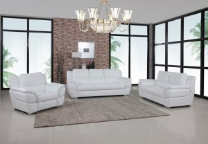 "111"" Chic White Leather Sofa Set"
