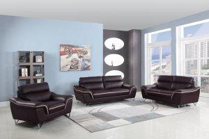 "110"" Charming Brown Leather Sofa Set"