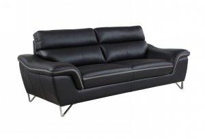 "36"" Charming Black Leather Sofa"