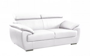 "32"" to 38"" Captivating White Leather Loveseat"