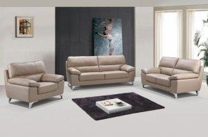 "111"" Classy Beige Leather Sofa Set"