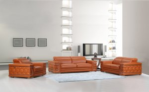 "114"" Sturdy Camel Leather Sofa Set"