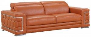 "89"" Sturdy Camel Leather Sofa"