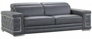 "89"" Sturdy Dark Gray Leather Sofa"