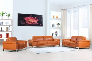 "96"" Lovely Camel Leather Sofa Set"