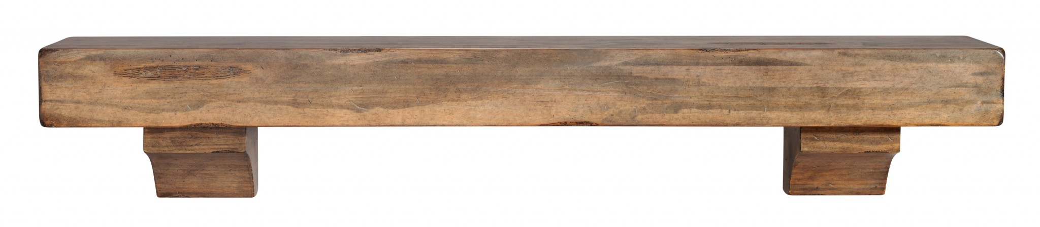 "72"" Contemporary Dune Rustic Distressed Pine Wood Mantel Shelf"