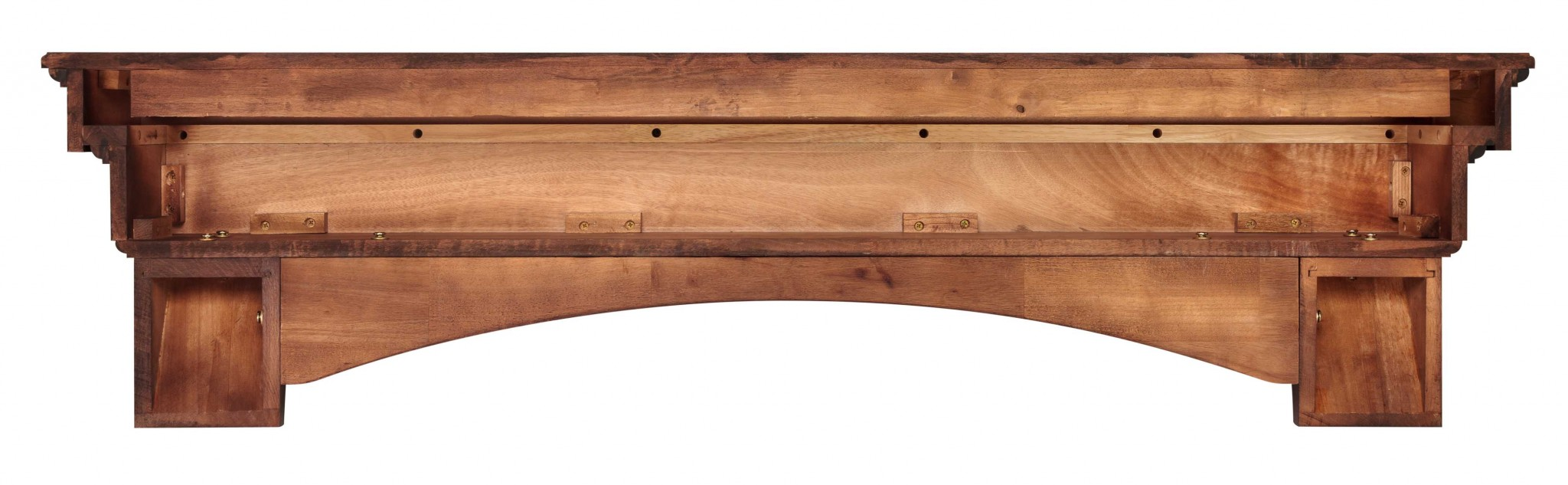 "72"" Sophisticated Distressed Cherry Wood Mantel Shelf"