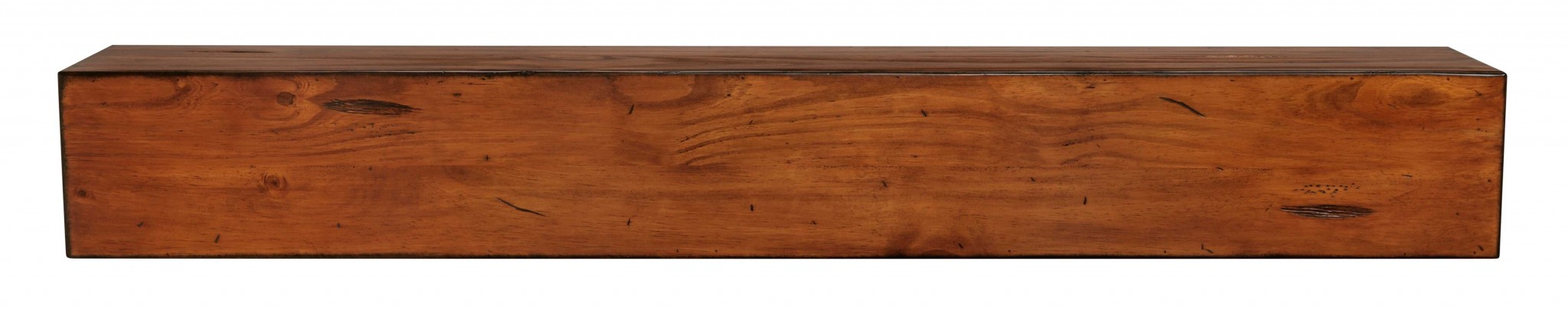 "60"" Modern Rustic Medium Distressed Pine Wood Mantel Shelf"