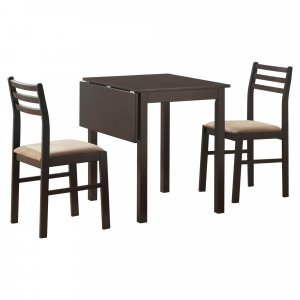 """63"""" x 66.5"""" x 95"""" Cappuccino Beige Solid Wood Foam Polyester Blend  3pcs Dining Set"""