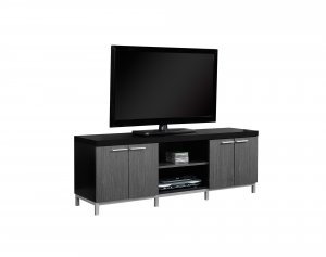 """15.5"""" x 60"""" x 21.25"""" Black Grey Silver Particle Board Hollow Core Metal TV Stand"""