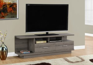 """19.75"""" Dark Taupe Particle Board Hollow Core and MDF TV Stand with 2 Drawers"""