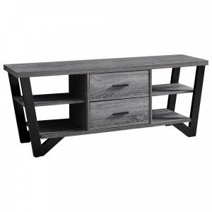 """15.5"""" x 60"""" x 23"""" Grey Black Particle Board Hollow Core Metal TV Stand With 2 Drawers"""