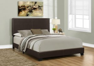 """45.75"""" Solid Wood MDF and Foam Queen Size Bed with Leather Look"""