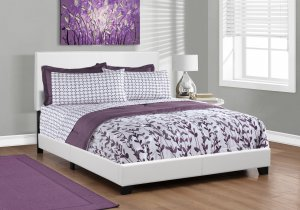 """45.75"""" White Solid Wood MDF and Foam Queen Size Bed with Leather Look"""