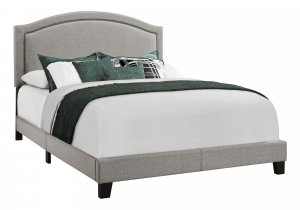 """64.5"""" x 85.75"""" x 51.5"""" Grey Foam Solid Wood Linen  Queen Size Bed"""