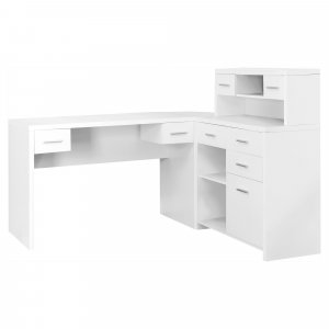 "59"" x 62'.75"" x 44'.75"" White, Particle Board, Hollow-Core - Computer Desk"