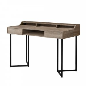 "22"" x 48"" x 32.75"" Dark Taupe Black Metal  Computer Desk"