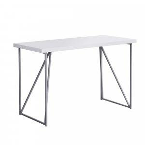 "22"" x 47.25"" x 30"" White Silver Metal Hollow Core Particle Board  Computer Desk"