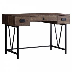 "23.75"" x 47.25"" x 30.75"" Brown Black Particle Board Hollow Core Metal  Computer Desk"