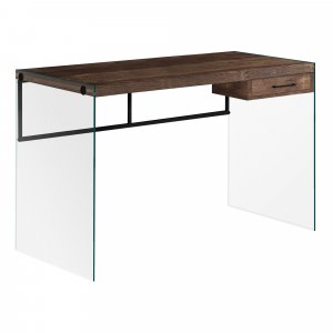 """23.75"""" x 48"""" x 30"""" Brown Black Clear Particle Board  Computer Desk"""