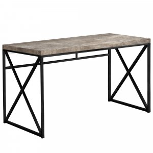 """23.75"""" x 47.25"""" x 29.75"""" Taupe Black Particle Board Metal  Computer Desk"""