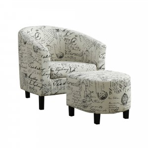 """45.5"""" x 49"""" x 45.5"""" Beige Black Cotton Linen Foam Accent Chair with Solid Wood Frame"""