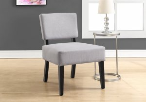 """31.5"""" x 27.5"""" x 22.75"""" Light Grey Foam Accent Chair with Solid Wood Frame"""