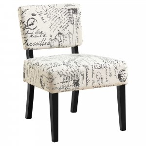 """27.5"""" x 22.75"""" x 31.5"""" Beige Cotton Linen Foam Accent Chair with Solid Wood Frame"""