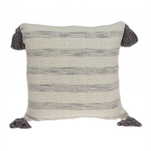 """18"""" x 0.5"""" x 18"""" Transitional Beige Printed Striped Tassel Pillow Cover"""