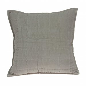 """20"""" x 0.5"""" x 20"""" Transitional Gray Solid Quilted Pillow Cover"""