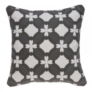 """20"""" x 0.5"""" x 20"""" Transitional Gray and White Pillow Cover"""