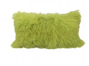 "17"" Lime Green Genuine Tibetan Lamb Fur Pillow with Microsuede Backing"