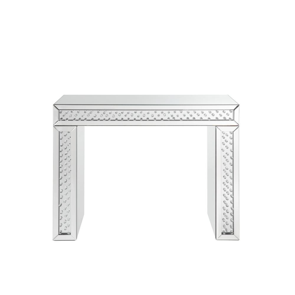 Mirror Accented Wood And Glass Vanity Desk With Faux Crystal Inlay, Silver