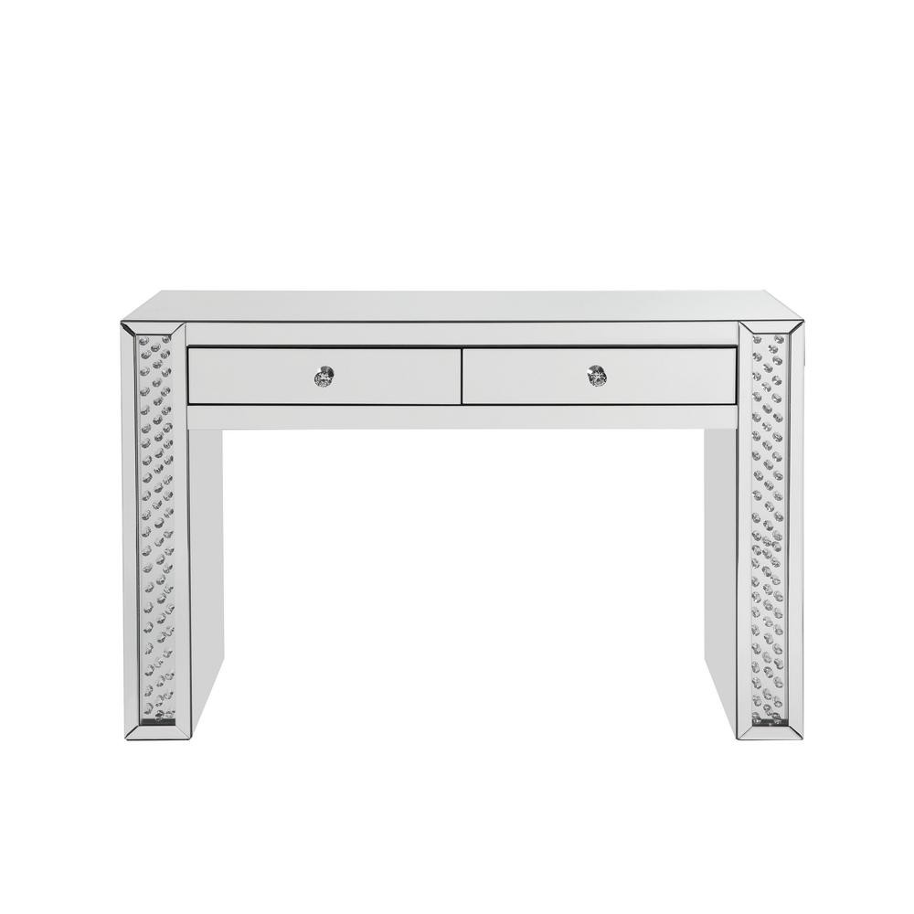 Mirror Accented Two Drawers Wooden Vanity Desk With Faux Crystal Inlay, Silver
