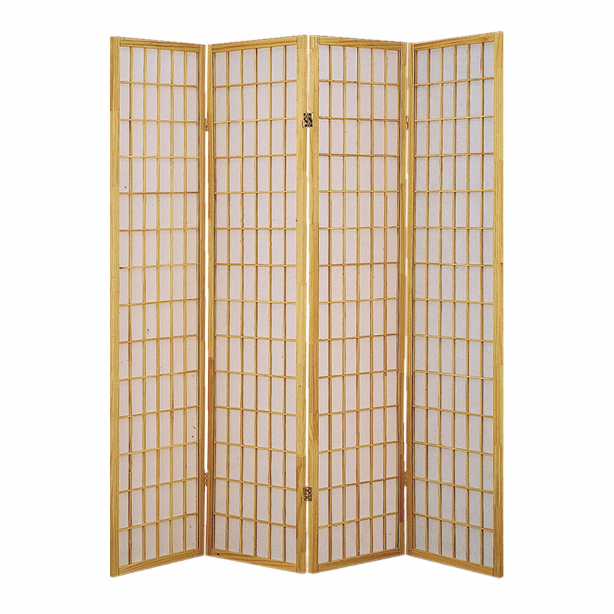 "68"" x 1"" x 70"" Natural And Brown, Shoji And Wood - 4 Panel Screen"