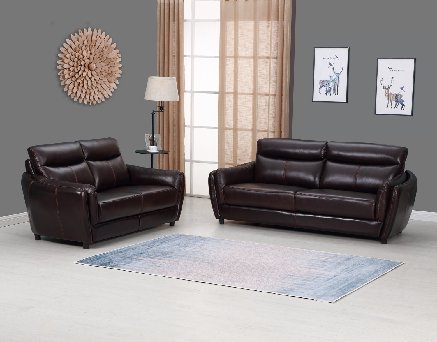 Admirable 68 X 36 X 35 Modern Brown Leather Sofa And Loveseat Bralicious Painted Fabric Chair Ideas Braliciousco