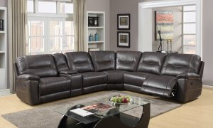 251'' X 41''  X 40'' Modern Dark Brown Leather Sectional