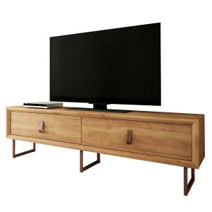 Country Chic TV Stand With Copper feet and Leather Handles