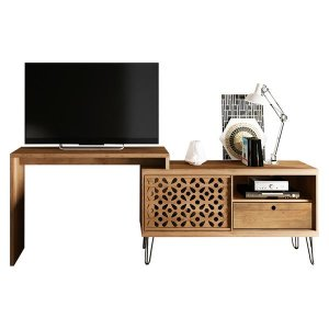 """77"""" X 12.9"""" X 29.6"""" Versatile and Unique TV Stand With Desk"""