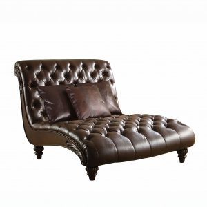 """52"""" X 70"""" X 45"""" 2Tone Brown PU Upholstery Wood Chaise w3Pillows"""