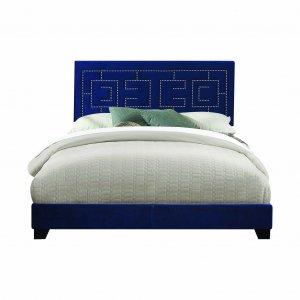 """80"""" X 86"""" X 50"""" Dark Blue Velvet Upholstered Bed Wood Leg Eastern King Bed"""