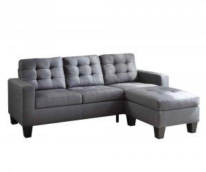 "32"" X 81"" X 35"" Gray Linen Upholstery Sectional Sofa"