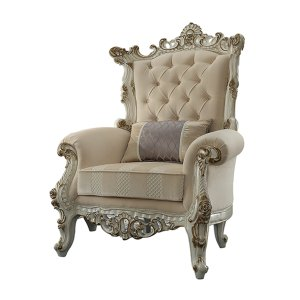 """38"""" X 38"""" X 52"""" Fabric Antique Pearl Upholstery Poly-Resin Accent Chair w/1 Pillow"""