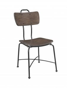 """21"""" X 18"""" X 37"""" Walnut Wood and Black Metal Base Side Chair Set of 2"""