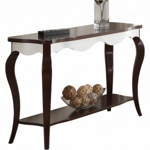 "17"" X 48"" X 30"" Walnut White Wood Sofa Table"